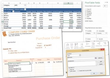 Laporan Pivot table,aplikasi purchase order dengan Excel