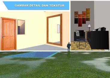 Memberikan tekstur atau material pada desain 3D dan membuat bayangan