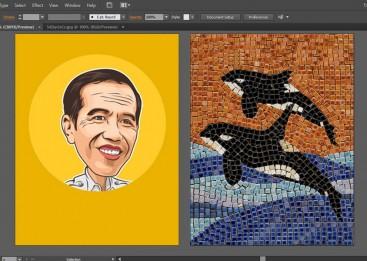 Kursus Desain Grafis untuk Anak, Illustrator, Vector Face, Mozaik