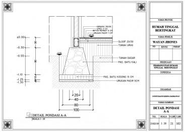Menggambar Detail Pondasi dengan AutoCAD