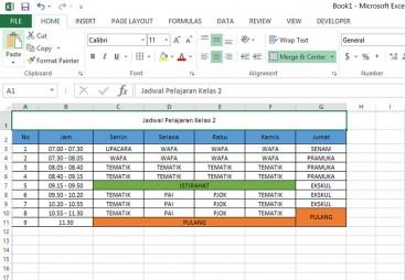 Kursus Komputer Anak SD, Excel, Jadwal Pelajaran