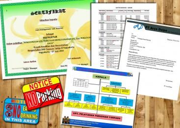 Kursus Word, Teknik membuat surat, sertifikat, struktur Organisasi dan notice